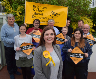 Hove candidate Carrie Hynds (2017) with party members. Kemptown candidate Emily Tester (2017) in right of shot.