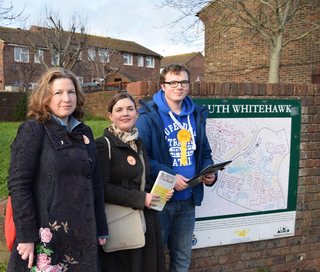 Laura, Carrie and George campaigning in Whitehawk