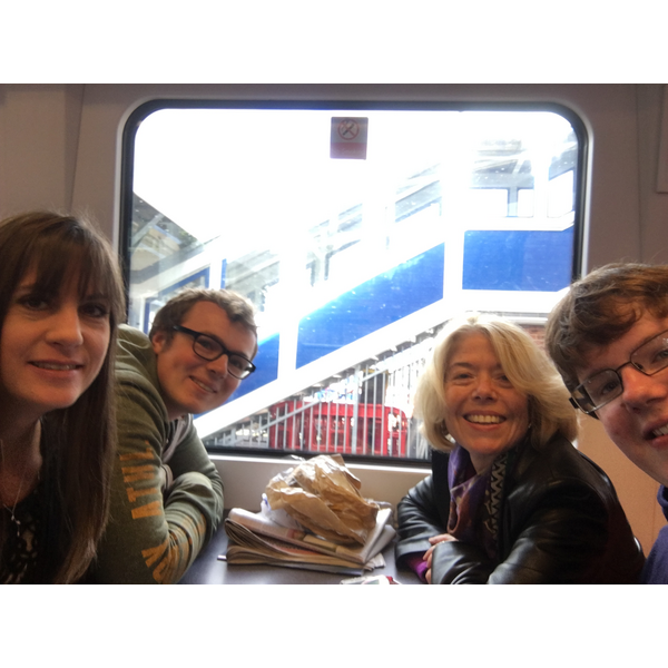 Beatrice George Hilary and other George on train to Bournemouth (Beatrice Bass)