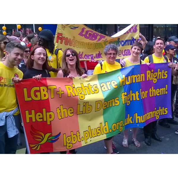 London Pride 2015 - Liz Barker, Lynne Featherstone, Caroline Pidgeon and Adrian Hyyrylainen-Trett