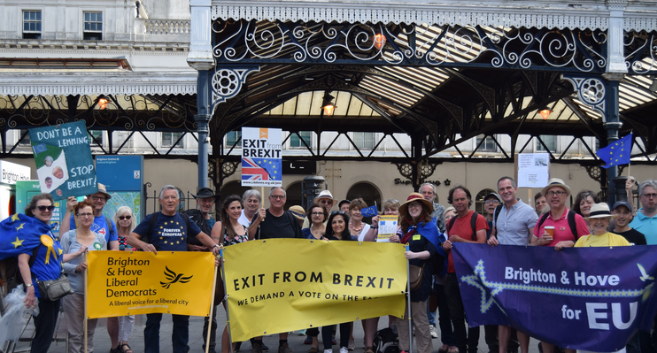 Pro-EU Groups Outside Brighton Station 2018