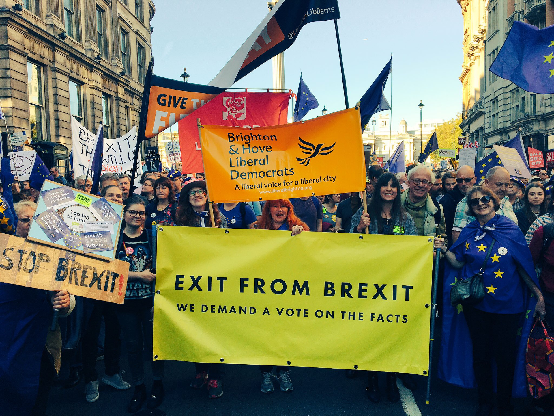 B&H Lib Dems at People's Vote march Oct 20th