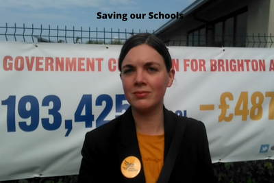 Carrie Hynds (Hove 2017 GE candidate) at Save Our Schools - Manifesto Text Imposed